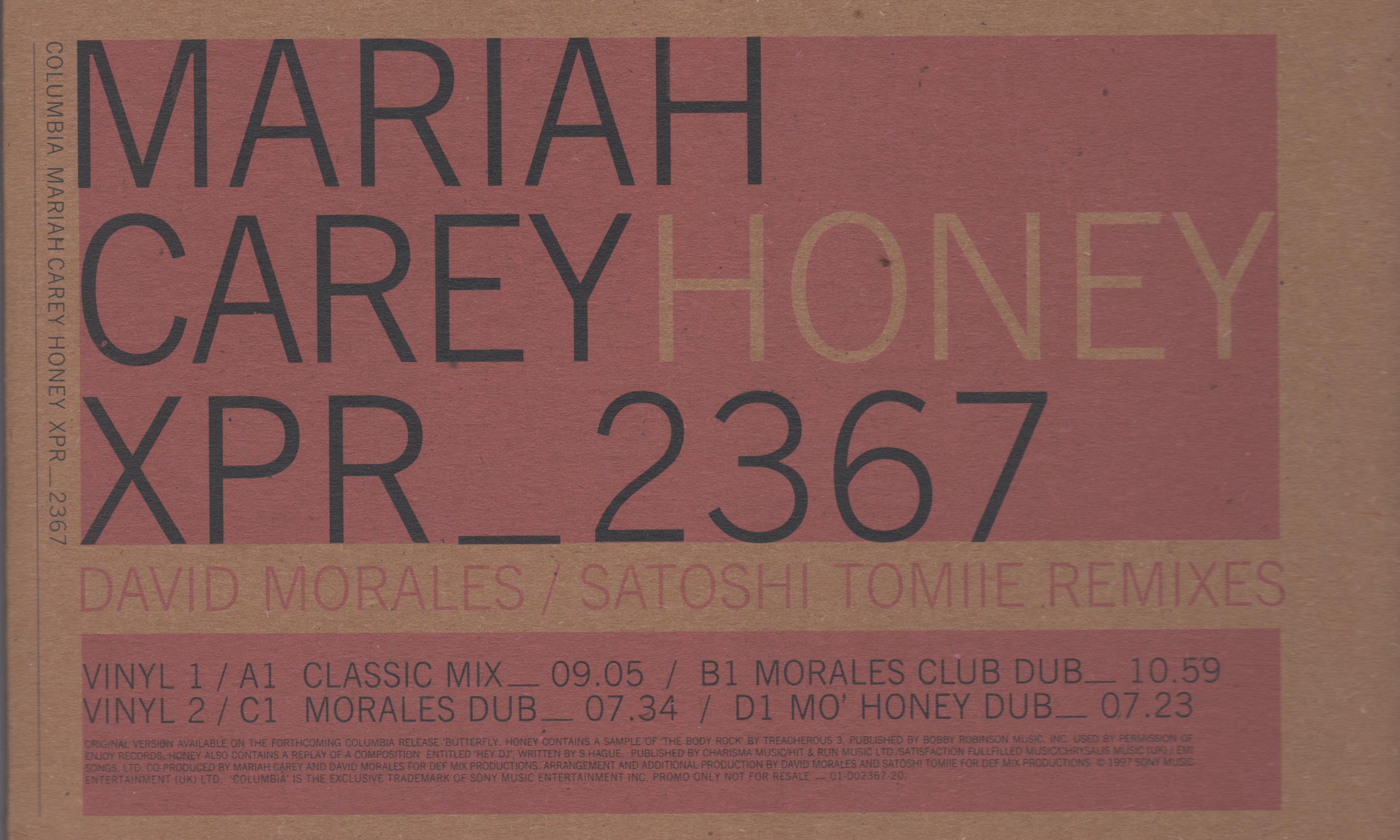 MARIAH CAREY – Honey (David Morales, Satoshi Tomiie Rmxs) – Double ...